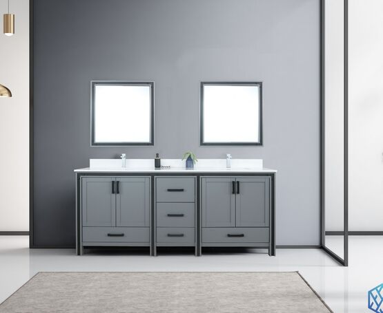 "Lexora Ziva 80"" - Dark Grey Double Bathroom Vanity (Options: Cultured Marble Top, White Square Sink and 30"" Mirrors w/ Faucet)"