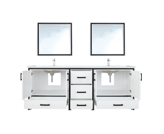 "Lexora Ziva 84"" - White Double Bathroom Vanity, Cultured Marble Top, White Square Sink and 34"" Mirrors w/ Faucet"