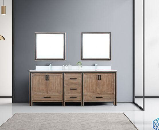 "Lexora Ziva 84"" - Rustic Barnwood Double Bathroom Vanity (Options: Cultured Marble Top, White Square Sink and 34"" Mirrors w/ Faucet)"