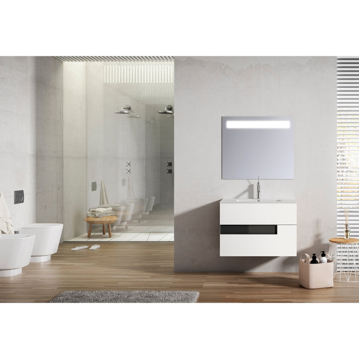 Lucena Bath Vision Bathroom Vanity Wall-Mounted, White and Black (24″, 32″, 40″ )