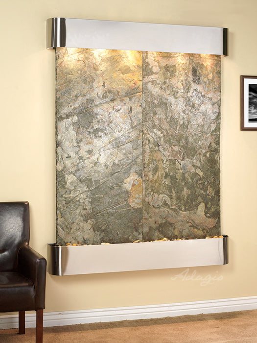 "Adagio Majestic River - Natural Slate Panel Wall-Mounted Waterfall (54""W x 69""H)"