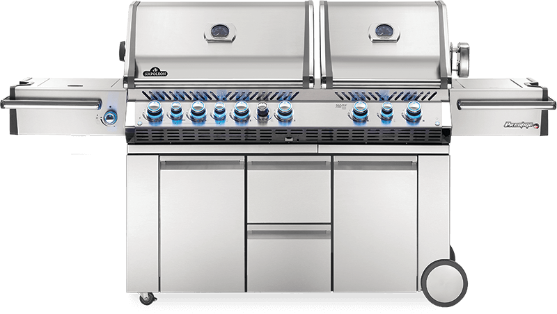 Napoleon Prestige PRO 825 - Natural Gas / Propane Grill with Power Side Burner and Infrared Rear & Bottom Burners, Stainless Steel PRO825RSBINSS-3/PSS-3