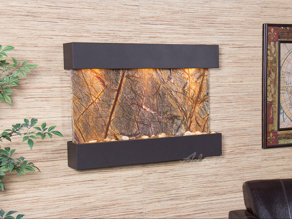 "Adagio Reflection Creek - Rainforest Marble Panel Wall-Mounted Waterfall (38""W x 27""H)"