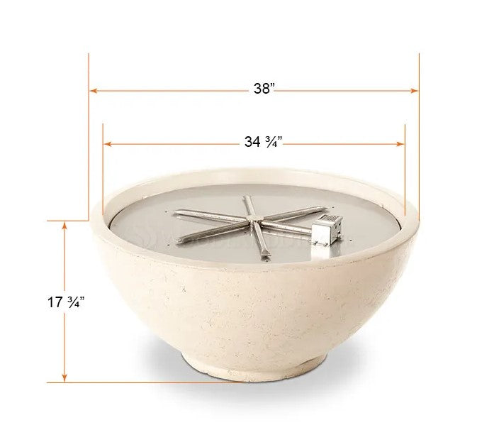"Firegear Sanctuary 2 - Gas Fire Bowl, 39"" Diameter x 18""H- Arctic"