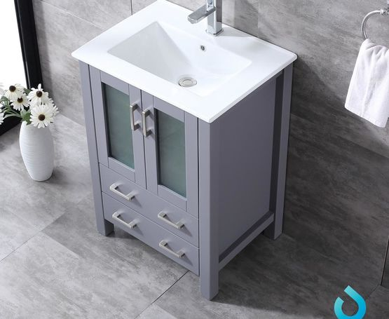 "Lexora Volez 24"" - Dark Grey Single Bathroom Vanity, Integrated Top, White Integrated Square Sink and 22"" Mirror w/ Faucet"
