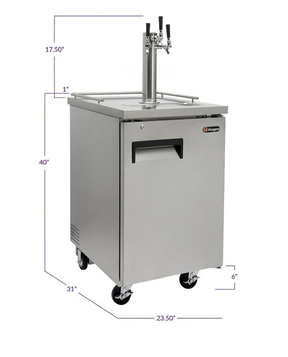 "Kegco 24"" Wide Homebrew Triple Tap All Stainless Steel Commercial Kegerator"