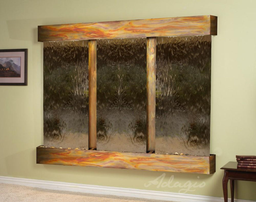 "Adagio Deep Creek Falls - Silver / Bronze Mirror Panel Wall-Mounted Waterfall (91""W x 69""H)"
