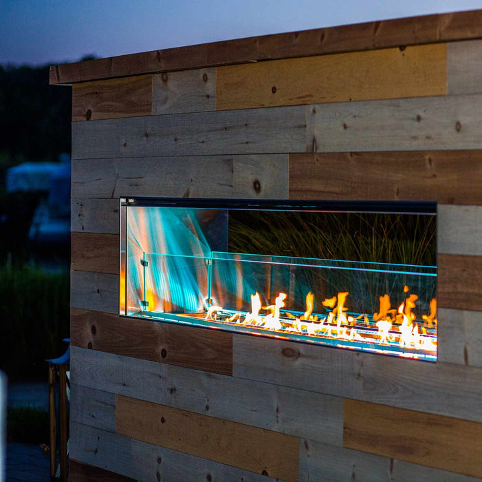 "Firegear Outdoor 60"" Kalea Bay Linear Fireplace with LED Lights"