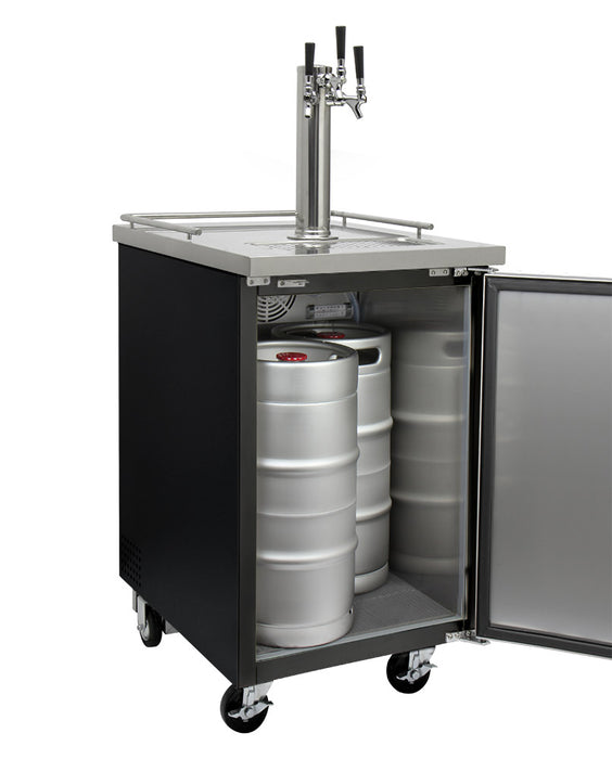 "Kegco 24"" Wide Cold Brew Coffee Triple Tap Black Commercial Kegerator"