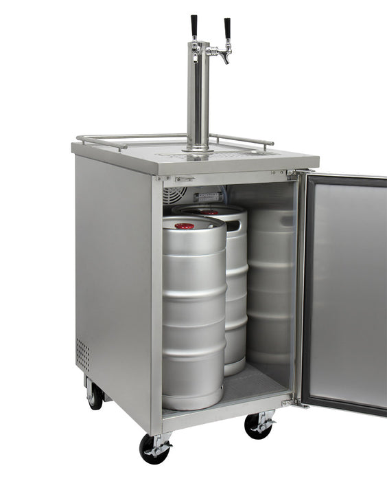 "Kegco 24"" Wide Kombucha Dual Tap All Stainless Steel Commercial Kegerator"