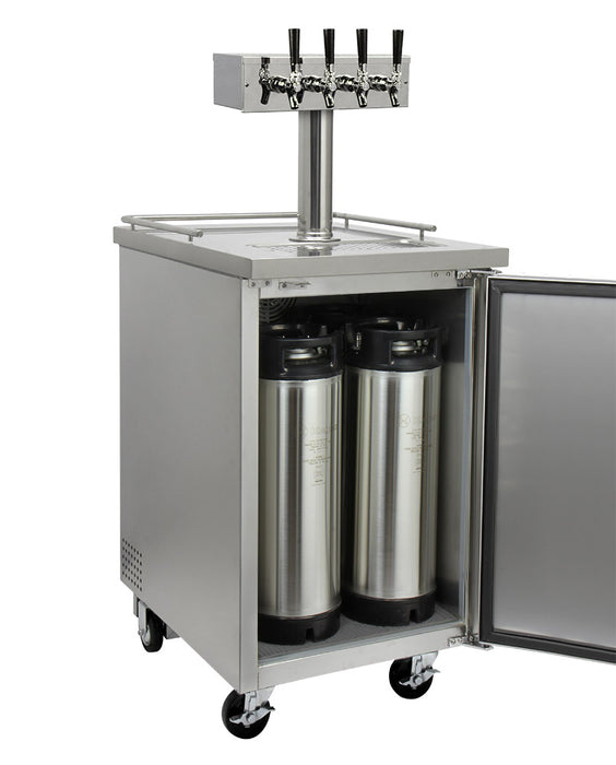 "Kegco 24"" Wide Kombucha Four Tap All Stainless Steel Commercial Kegerator"