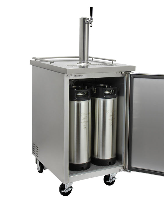 "Kegco 24"" Wide Kombucha Single Tap All Stainless Steel Commercial Kegerator"