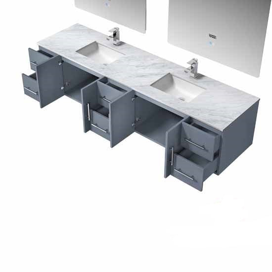 "Lexora Geneva 84"" - Dark Grey Double Bathroom Vanity, White Carrara Marble Top, White Square Sinks and 36"" LED Mirrors w/ Faucets"