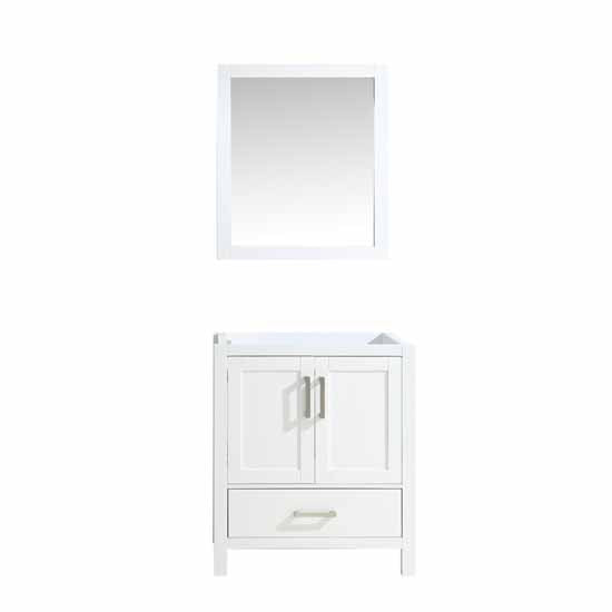 "Lexora Jacques 30"" - White Single Bathroom Vanity, White Carrara Marble Top, White Square Sink and 28"" Mirror w/ Faucet"