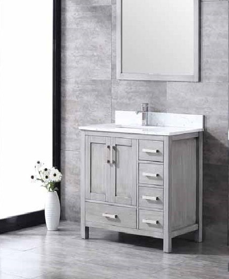 "Lexora Jacques 36"" - Distressed Grey Single Bathroom Vanity, White Carrara Marble Top, White Square Sink and 34"" Mirror w/ Faucet - Left Version"