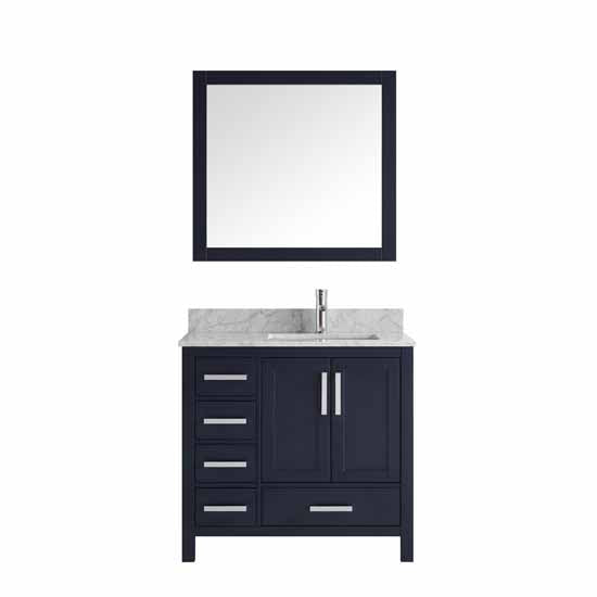 "Lexora Jacques 36"" - Navy Blue Single Bathroom Vanity, White Carrara Marble Top, White Square Sink and 34"" Mirror w/ Faucet - Right Version"