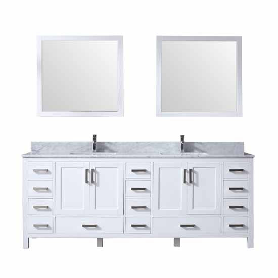 "Lexora Jacques 84"" - White Double Bathroom Vanity, White Carrara Marble Top, White Square Sinks and 34"" Mirrors w/ Faucets"
