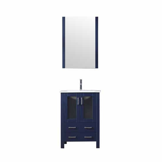 "Lexora Volez 30"" - Navy Blue Single Bathroom Vanity, Integrated Top, White Integrated Square Sink and 28"" Mirror w/ Faucet"
