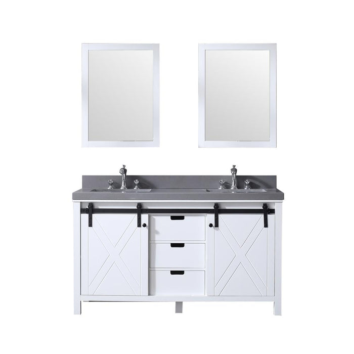 "Lexora Marsyas 60"" - White Double Bathroom Vanity, Grey Quartz Top, White Square Sinks and 24"" Mirrors w/ Faucets"