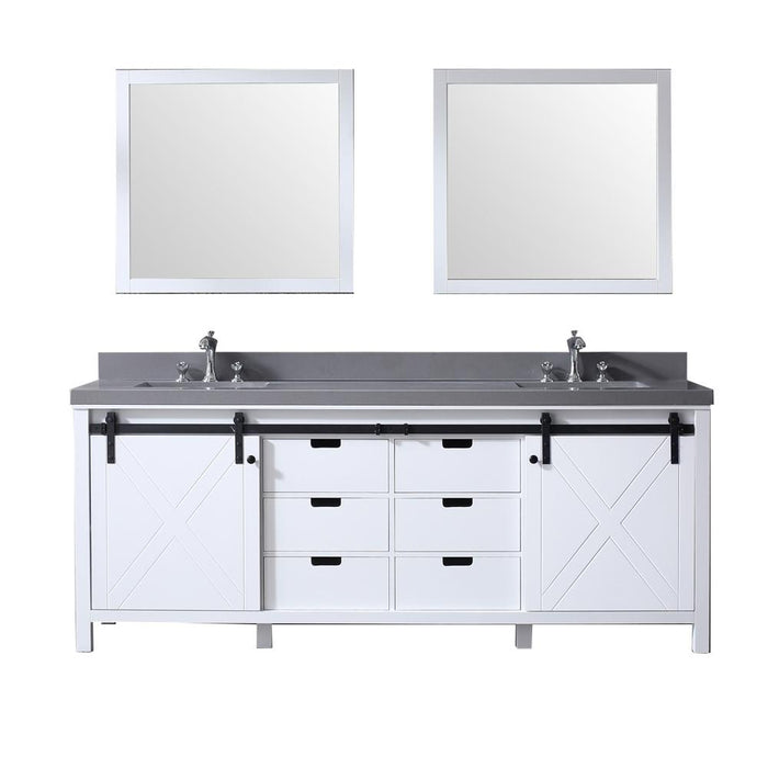 "Lexora Marsyas 84"" - White Double Bathroom Vanity, Grey Quartz Top, White Square Sinks and 34"" Mirrors w/ Faucets"