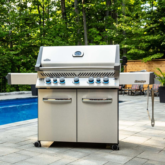 Napoleon Prestige 665 - Natural Gas / Propane Grill with Infrared Side and Rear Burners, Stainless Steel P665RSIBNSS/PSS-3