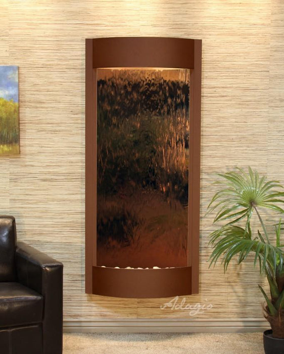 "Adagio Pacifica Waters - Silver / Bronze Mirror Panel Wall-Mounted Waterfall (31.5""W x 70""H)"