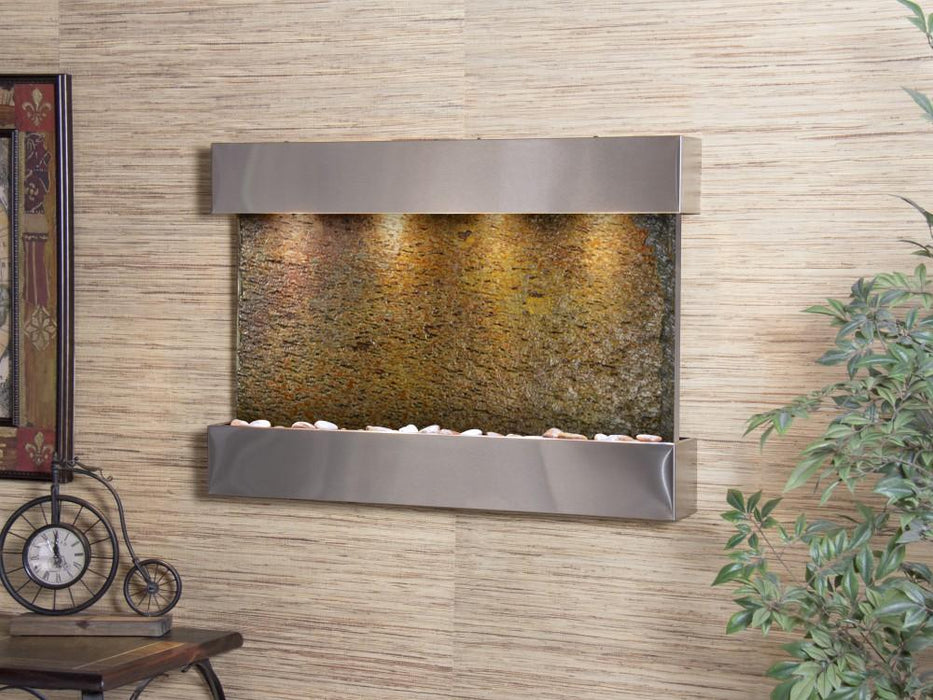 "Adagio Reflection Creek - Natural Slate Panel Wall-Mounted Waterfall (38""W x 27""H)"
