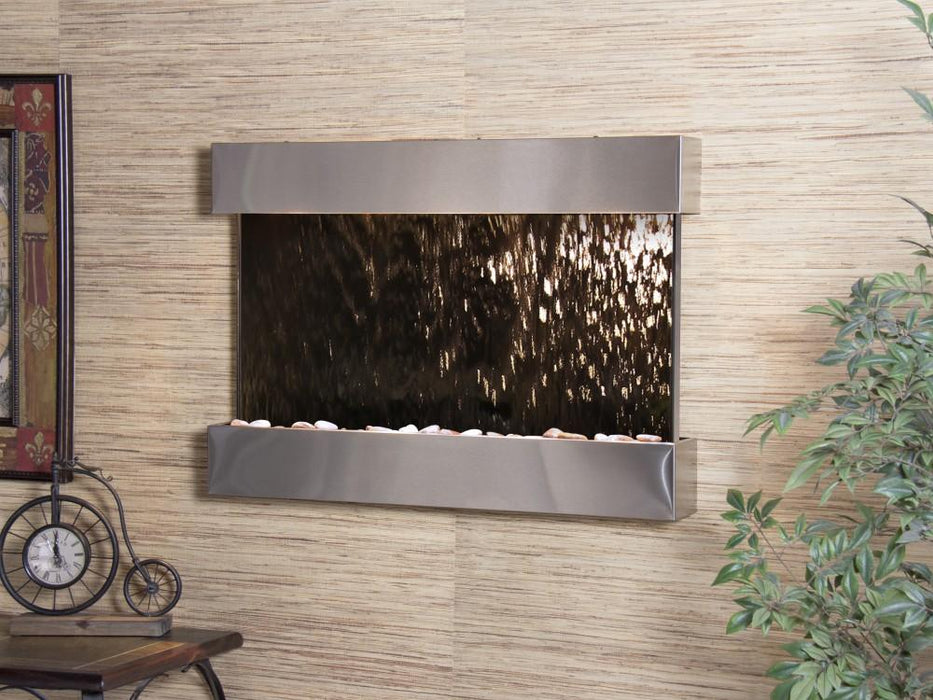 "Adagio Reflection Creek - Silver / Bronze Mirror Panel Wall-Mounted Waterfall (38""W x 27""H)"