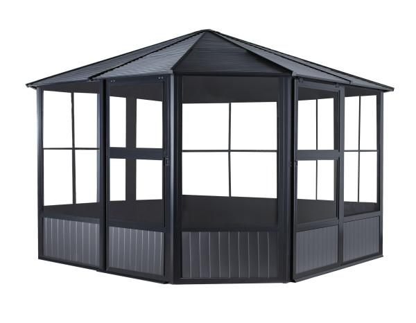 Sojag™ Charleston Solarium 4-Season Sunroom Kit Dark Gray with Steel Roof