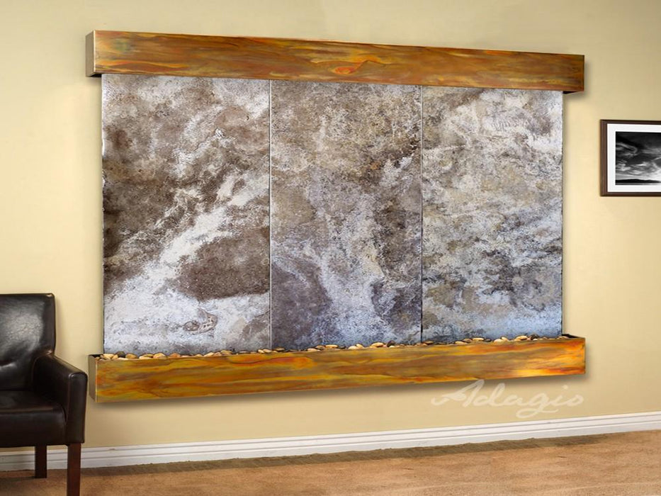 "Adagio Solitude River - Magnifico Travertine Panel Wall-Mounted Waterfall (78""W x 69""H)"