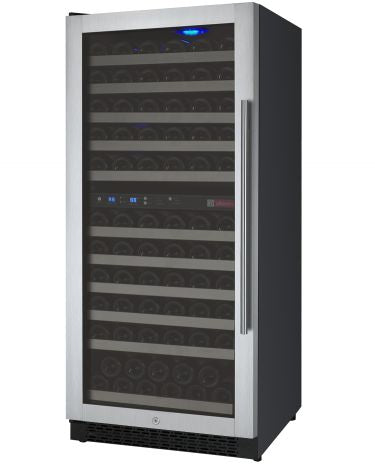 "Allavino 24"" Wide FlexCount Series 121 Bottle Dual Zone Stainless Steel Wine Refrigerator"