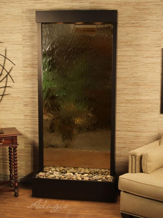 "Adagio Tranquil River - Silver / Bronze Mirror Freestanding Waterfall (41""W x 90""H)"