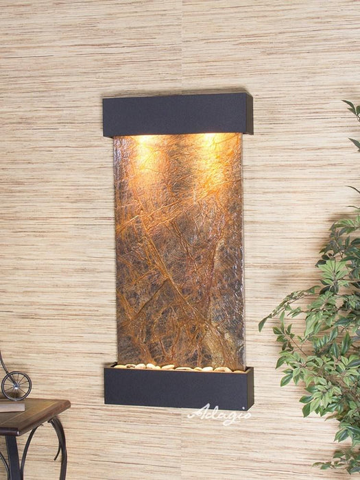 "Adagio Whispering Creek - Rainforest Marble Panel Wall-Mounted Waterfall (22""W x 46""H)"