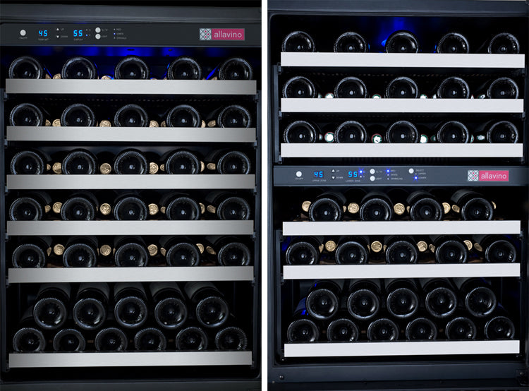 "Allavino 47"" Wide FlexCount Series 112 Bottle Three Zone Stainless Steel Side-by-Side Wine Refrigerator"