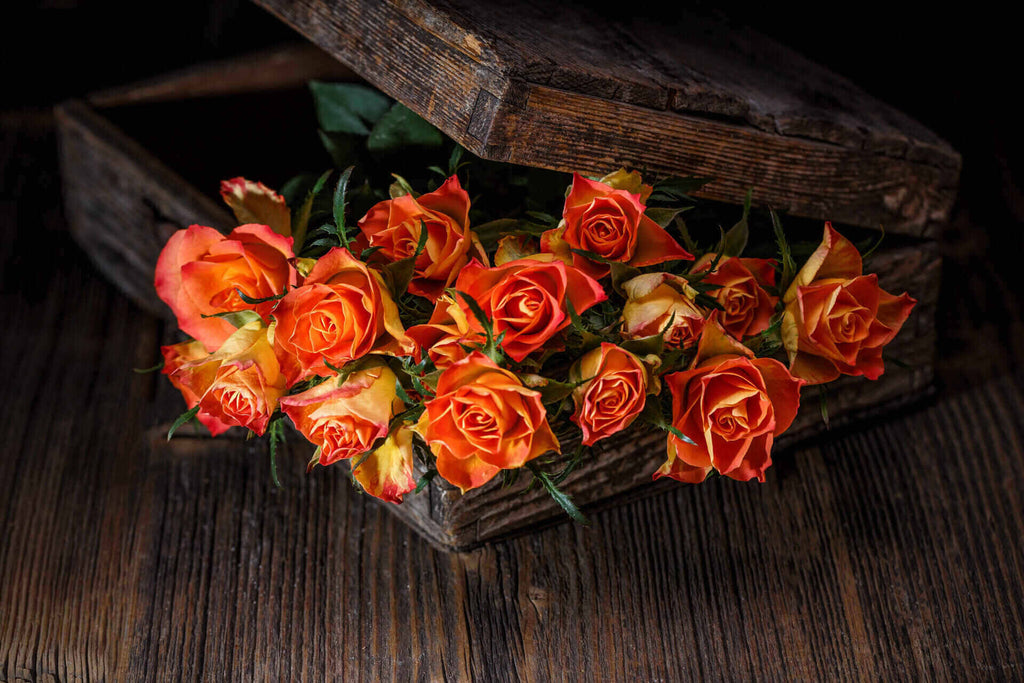 box with beautiful roses