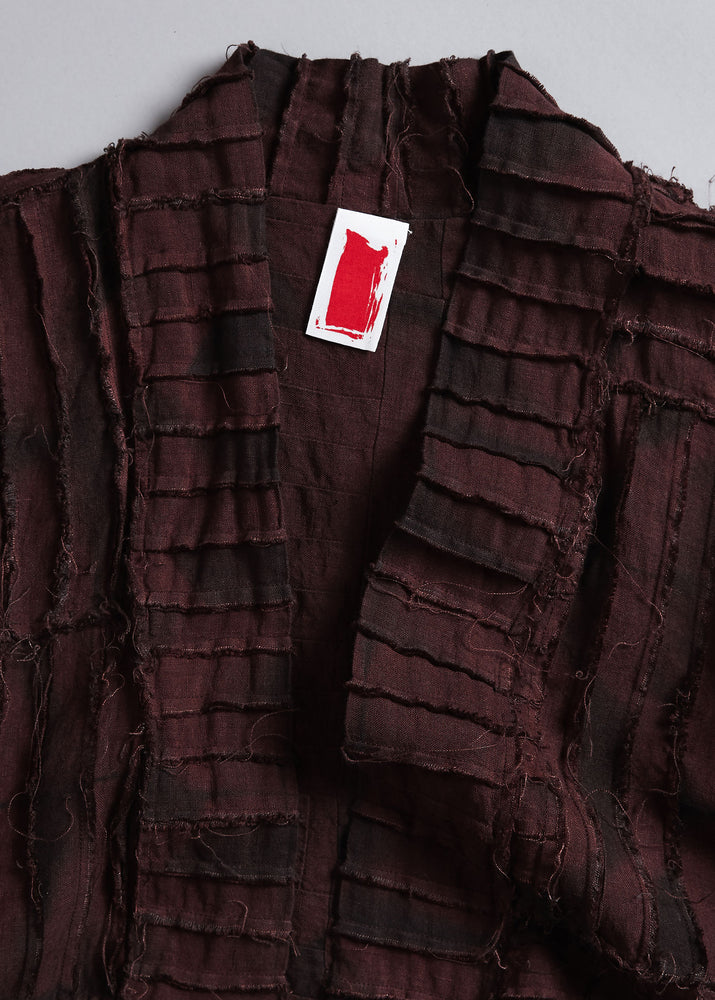 Load image into Gallery viewer, Pieced Lounge Coat in Claret + Anthracite