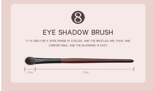 Eye Makeup Brushes Set Wooden Handle Brush Set (7 piece collection with bag)