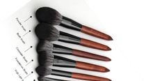 Load image into Gallery viewer, Face Brushes Set Wooden Handle Brush Set (5 piece collection with bag)