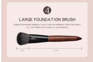Face Brushes Set Wooden Handle Brush Set (5 piece collection with bag)