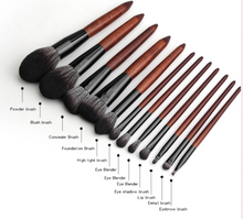 Load image into Gallery viewer, Wooden Handle Synthetic Brush Set (12 piece collection with bag)