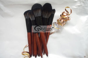 Wooden Handle Synthetic Brush Set (12 piece collection with bag)