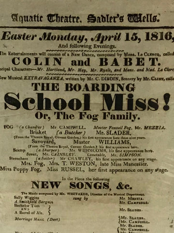 Aquatic Theatre, Sadler's Wells.   Easter Monday, April 15, 1816 (Joseph Grimaldi)