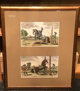 Set of Two Hand-Coloured Equestrian Engravings