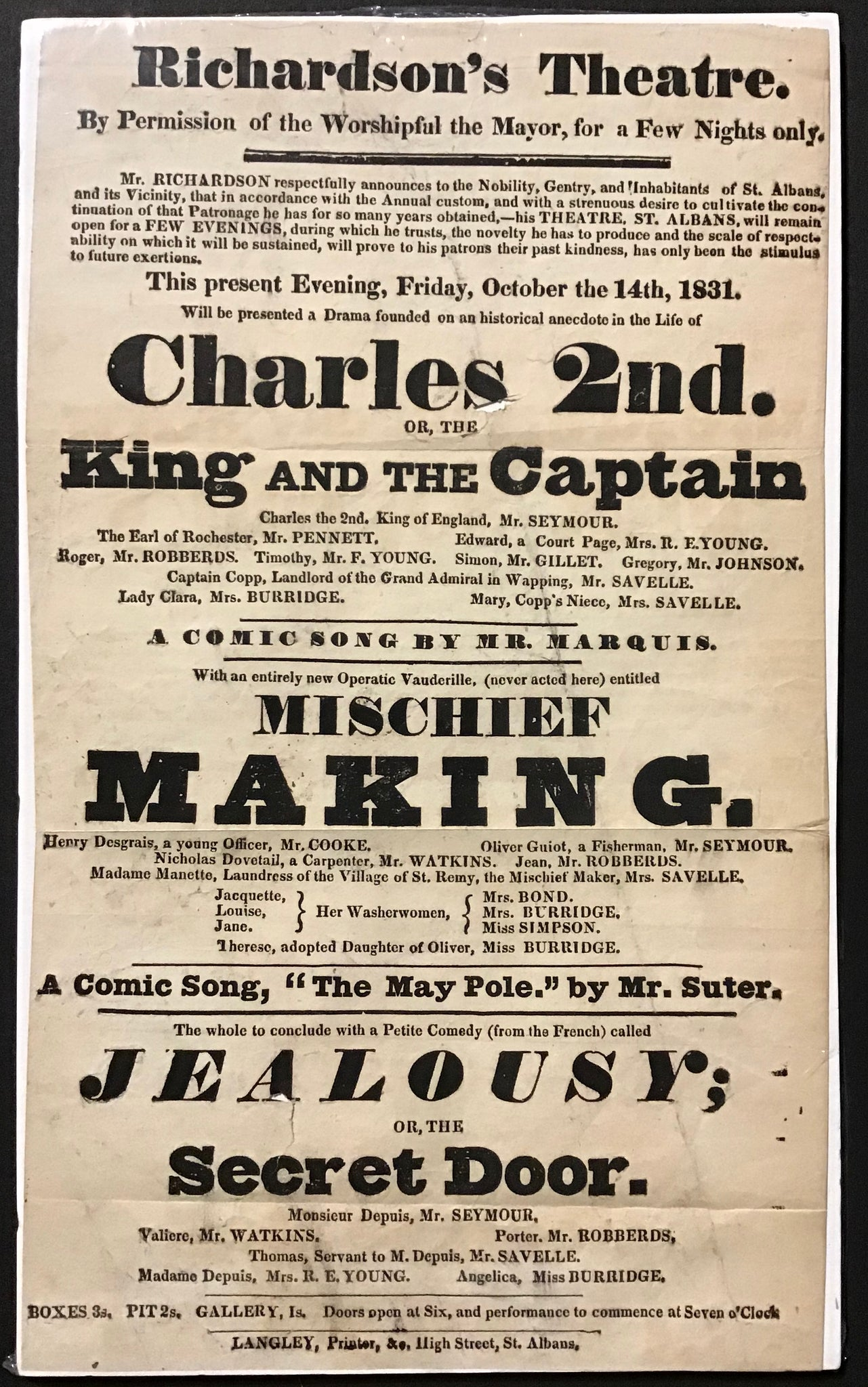 Richardson's Theatre - Charles the 2nd or the King and the Captain  - Playbill Oct. 14th, 1831