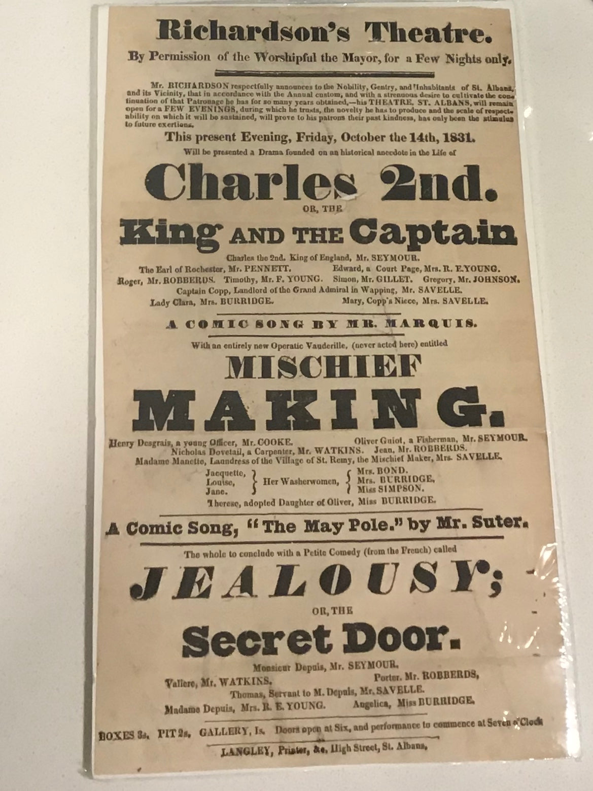 Playbill : Friday October 14th, 1831 - Charles the 2nd or, the King and Cleopatra; Mischief Making; Jealousy or, the Secret Door