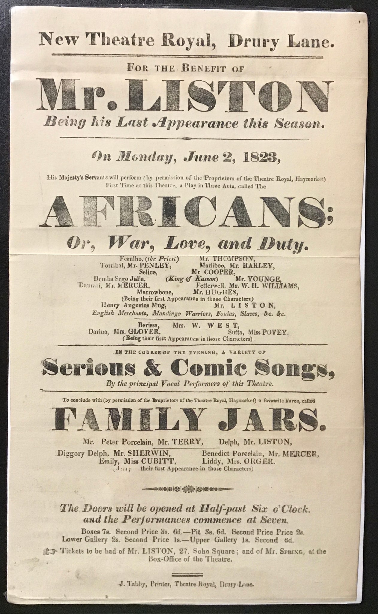 New Theatre Royal, Drury Lane - For the Benefit of Mr. Liston Being his Last Appearance this Season    Playbill June 2, 1823