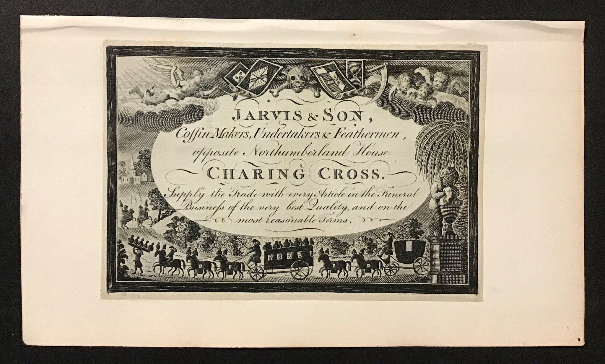 Jarvis and Son: Coffin Makers, Undertakers and Feathermen. -  Engraving