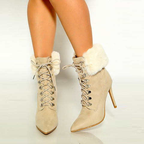Oatmeal Colored Lace Up Fur High Heel Booties