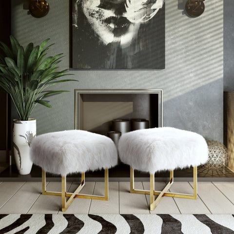 Gold Stainless Steel and White Sheepskin Bench
