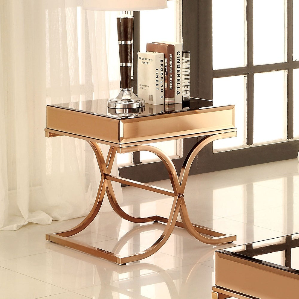 Contemporary Copper Metal X-cross End Table